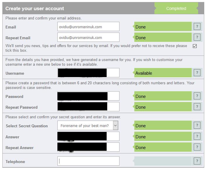 verifici credit score creeaza contul - numarul de tel nu e necesar