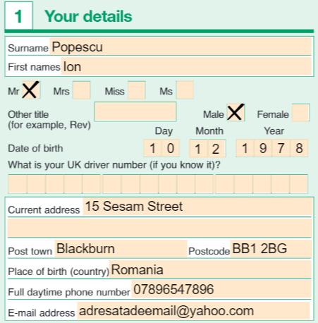 permis provizoriu uk completare aplicatie 1a